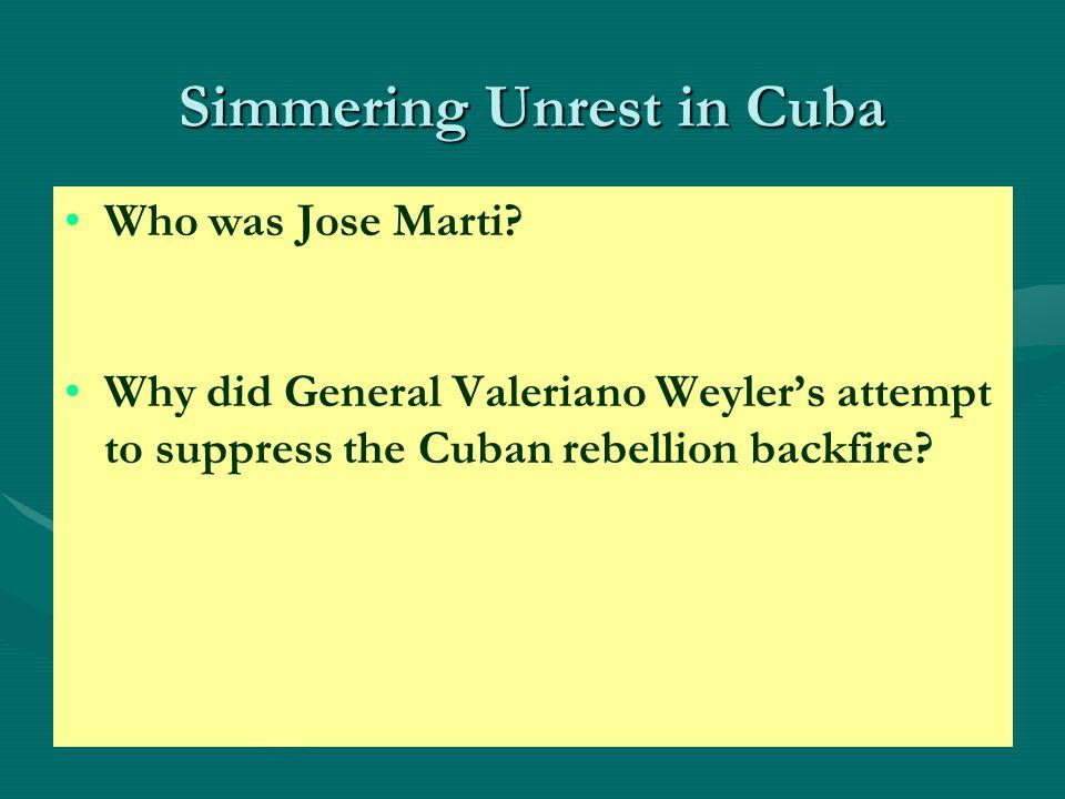 Simmering Unrest in Cuba Who was Jose Marti.