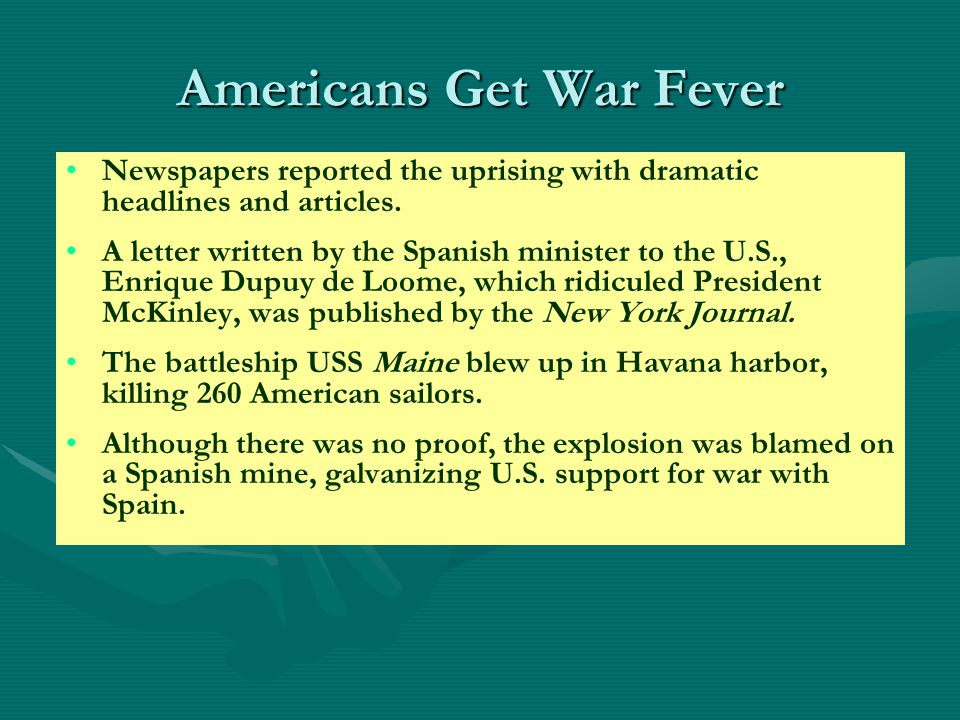 Spanish- American War CausesWho Anti-Imperialists After the War Where and What Results of the War Spanish policies in Cuba- Human rights- Butcher Weyler U.S.