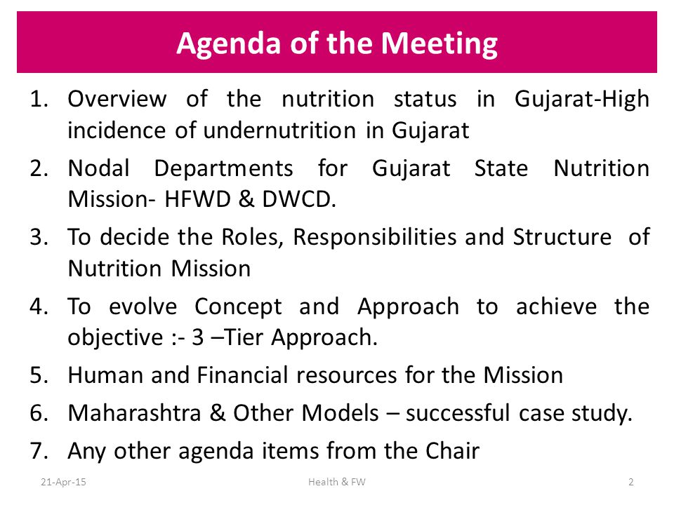 Focus of the Mission To strengthen growth monitoring and evaluation system and bringing in subject specialist.