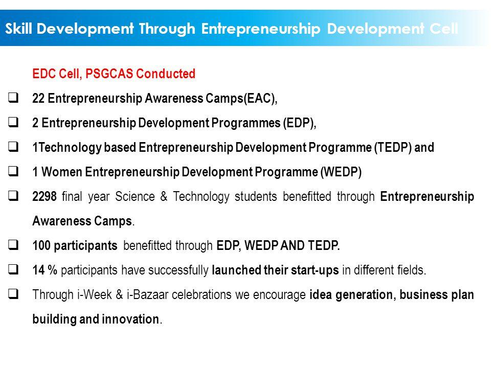 Skill Development Through Entrepreneurship Development Cell EDC Cell, PSGCAS Conducted  22 Entrepreneurship Awareness Camps(EAC),  2 Entrepreneurshi