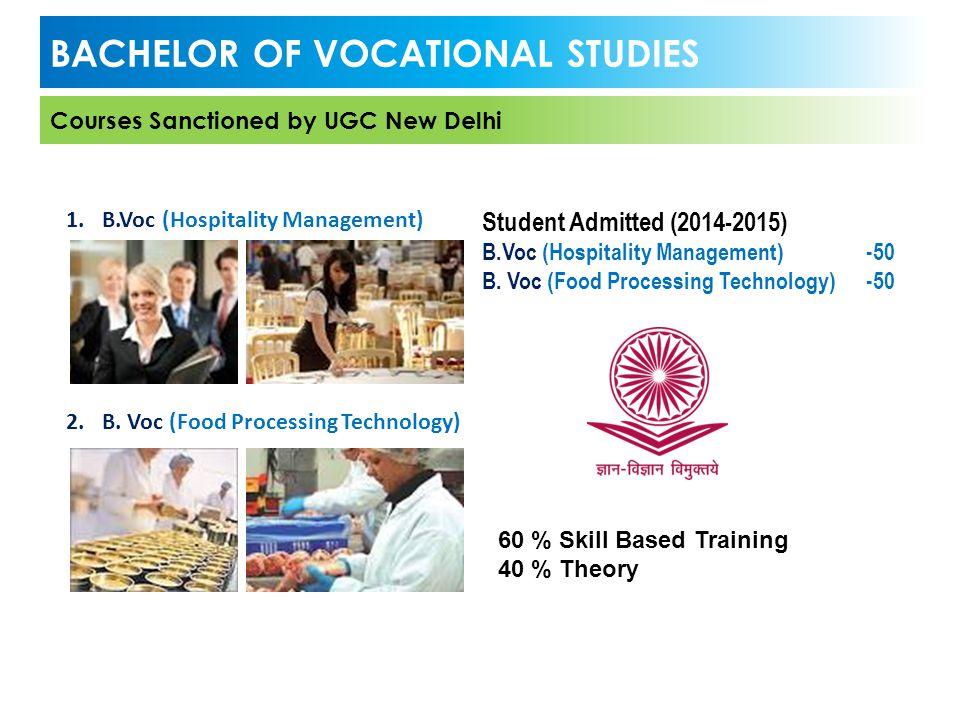 1.B.Voc (Hospitality Management) 2.B. Voc (Food Processing Technology) BACHELOR OF VOCATIONAL STUDIES Courses Sanctioned by UGC New Delhi Student Admi