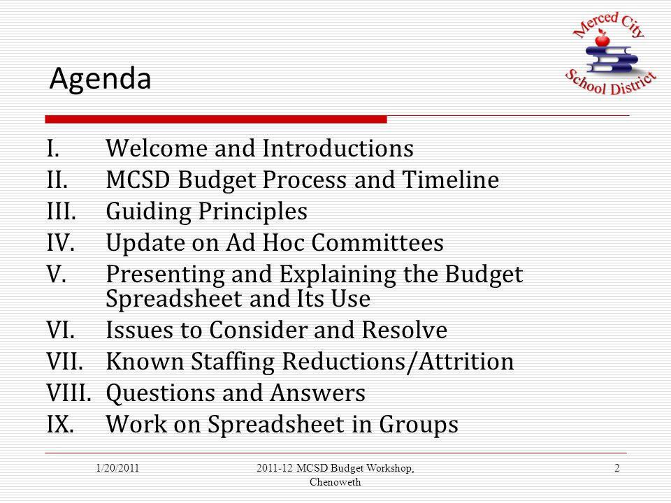 Agenda I.Welcome and Introductions II.MCSD Budget Process and Timeline III.Guiding Principles IV.Update on Ad Hoc Committees V.Presenting and Explaining the Budget Spreadsheet and Its Use VI.Issues to Consider and Resolve VII.Known Staffing Reductions/Attrition VIII.Questions and Answers IX.Work on Spreadsheet in Groups 1/20/201122011-12 MCSD Budget Workshop, Chenoweth
