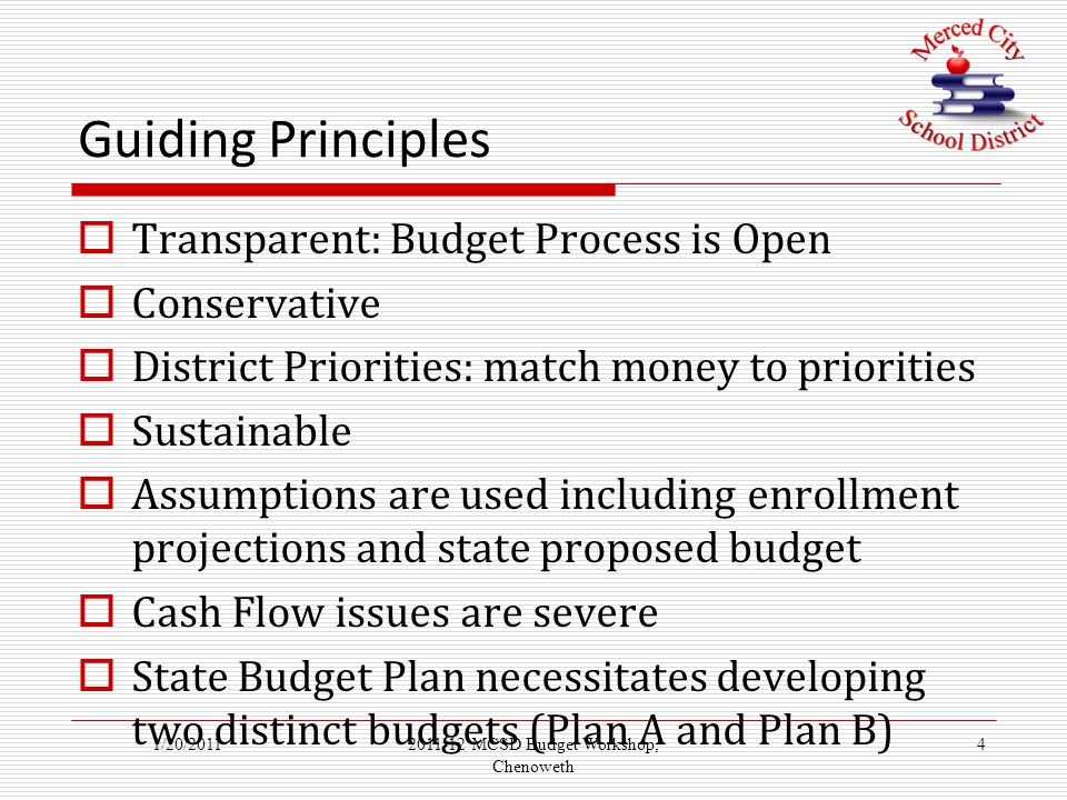 Guiding Principles  Transparent: Budget Process is Open  Conservative  District Priorities: match money to priorities  Sustainable  Assumptions are used including enrollment projections and state proposed budget  Cash Flow issues are severe  State Budget Plan necessitates developing two distinct budgets (Plan A and Plan B) 1/20/201142011-12 MCSD Budget Workshop, Chenoweth