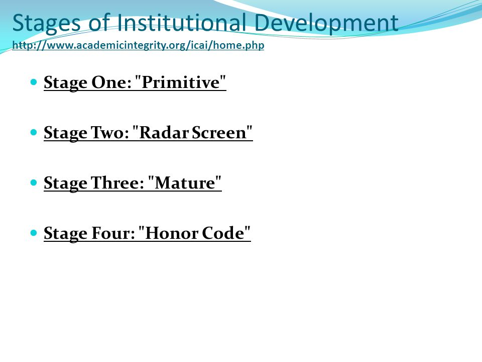 Stages of Institutional Development http://www.academicintegrity.org/icai/home.php Stage One: Primitive Stage Two: Radar Screen Stage Three: Mature Stage Four: Honor Code