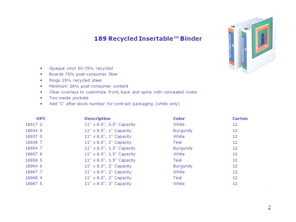 2 189 Recycled Insertable™ Binder Opaque vinyl 50-75% recycled Boards 75% post-consumer fiber Rings 25% recycled steel Minimum 26% post-consumer content Clear overlays to customize front, back and spine with concealed rivets Two inside pockets Add C after stock number for contract packaging (white only) UPC Description ColorCarton 18917 2 11 x 8.5 , 0.5 Capacity White 12 18934 9 11 x 8.5 , 1 Capacity Burgundy 12 18937 0 11 x 8.5 , 1 Capacity White 12 18938 7 11 x 8.5 , 1 Capacity Teal 12 18954 7 11 x 8.5 , 1.5 Capacity Burgundy 12 18957 8 11 x 8.5 , 1.5 Capacity White 12 18958 5 11 x 8.5 , 1.5 Capacity Teal 12 18964 6 11 x 8.5 , 2 Capacity Burgundy 12 18967 7 11 x 8.5 , 2 Capacity White 12 18968 4 11 x 8.5 , 2 Capacity Teal 12 18987 5 11 x 8.5 , 3 Capacity White 12