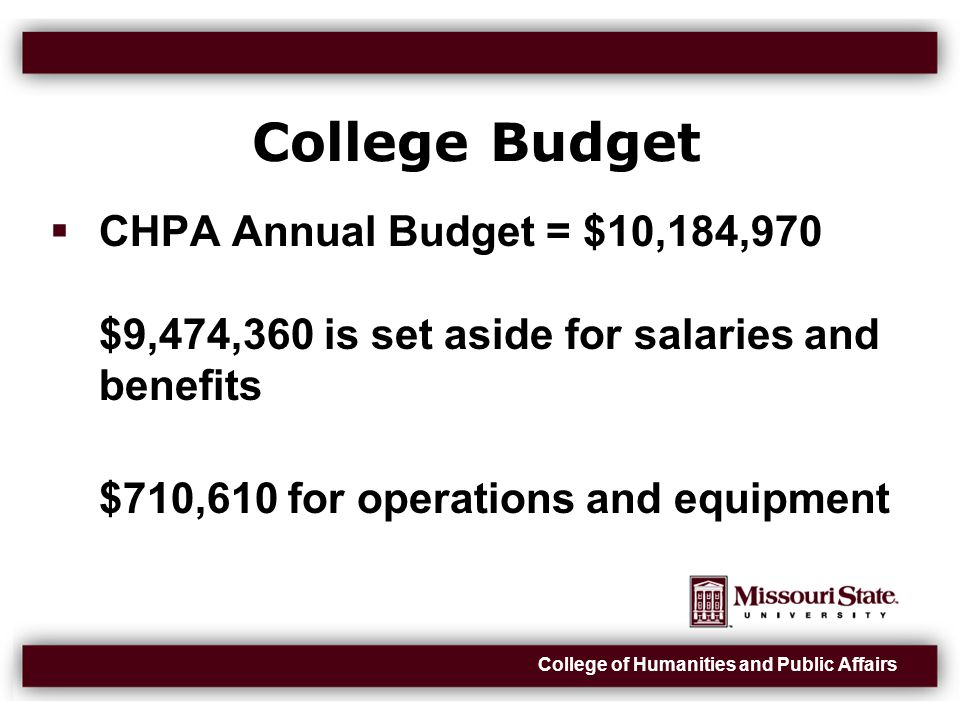 College of Humanities and Public Affairs College Budget  CHPA Annual Budget = $10,184,970 $9,474,360 is set aside for salaries and benefits $710,610 for operations and equipment
