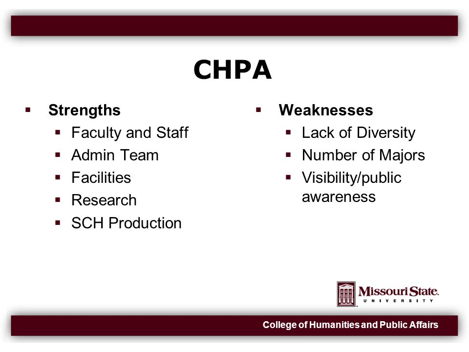 College of Humanities and Public Affairs CHPA  Strengths  Faculty and Staff  Admin Team  Facilities  Research  SCH Production  Weaknesses  Lack of Diversity  Number of Majors  Visibility/public awareness