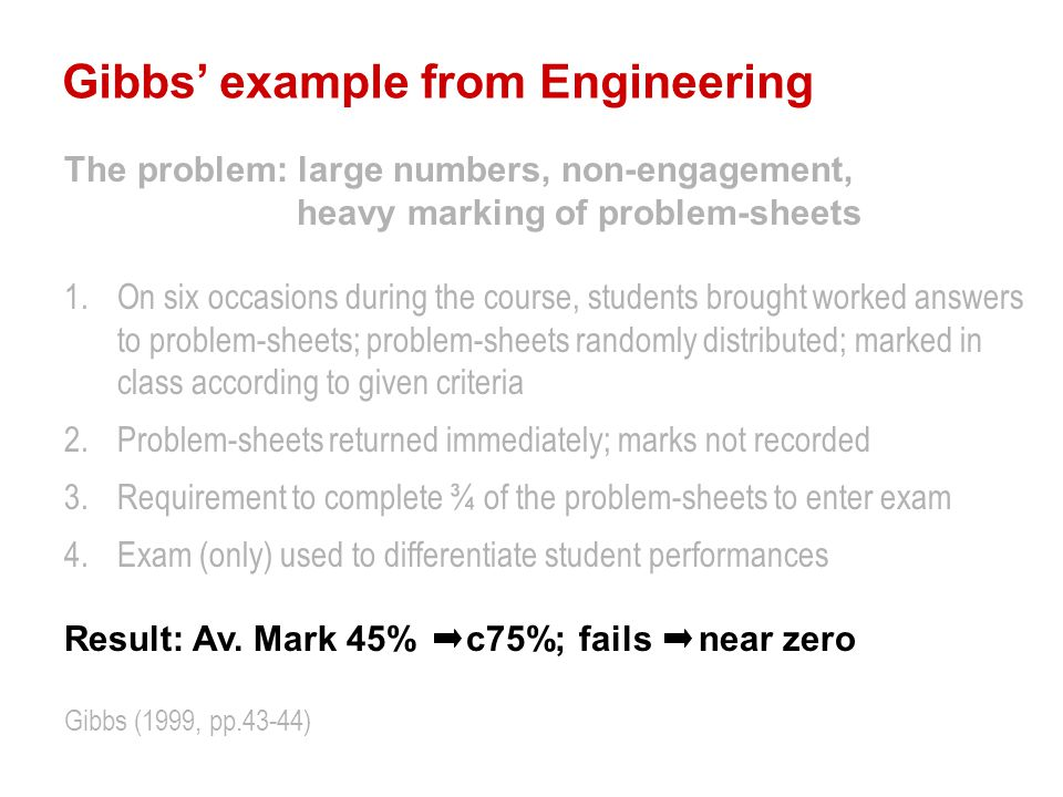 Gibbs' example from Engineering The problem: large numbers, non-engagement, heavy marking of problem-sheets 1.On six occasions during the course, students brought worked answers to problem-sheets; problem-sheets randomly distributed; marked in class according to given criteria 2.Problem-sheets returned immediately; marks not recorded 3.Requirement to complete ¾ of the problem-sheets to enter exam 4.Exam (only) used to differentiate student performances Result: Av.