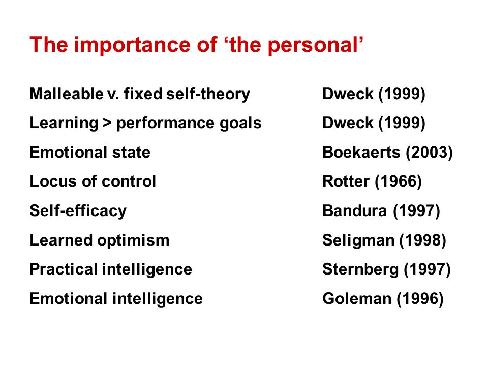 The importance of 'the personal' Malleable v. fixed self-theoryDweck (1999) Learning > performance goalsDweck (1999) Emotional stateBoekaerts (2003) L
