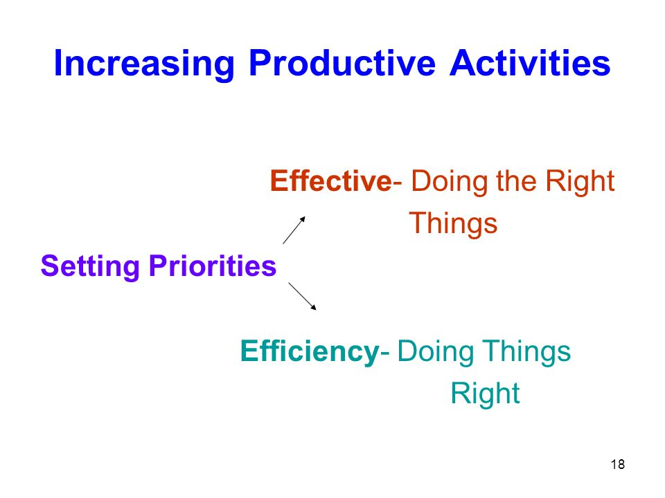 Increasing Productive Activities Effective- Doing the Right Things Setting Priorities Efficiency- Doing Things Right 18