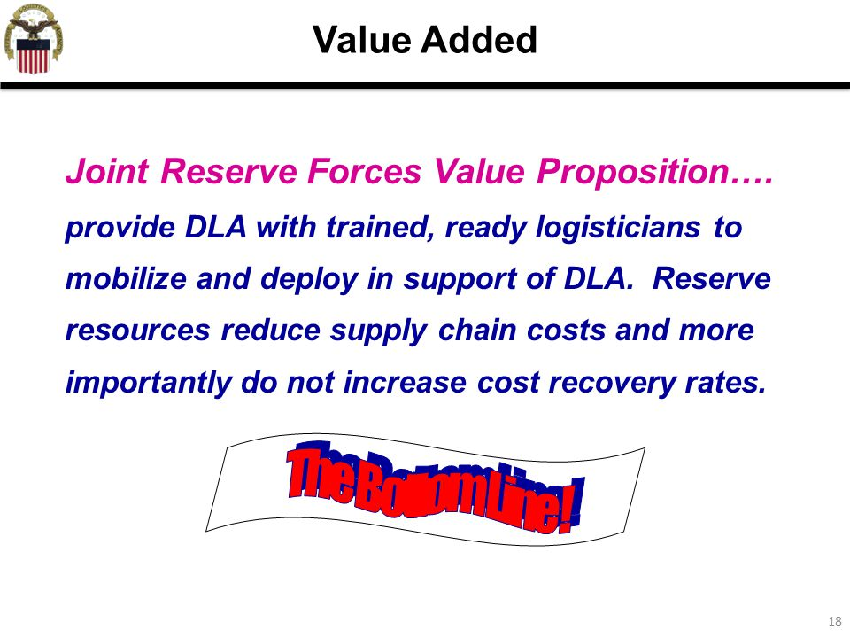 18 Joint Reserve Forces Value Proposition….