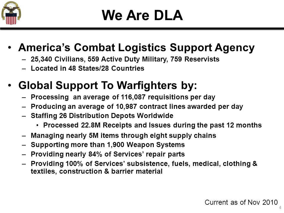 4 We Are DLA America's Combat Logistics Support Agency –25,340 Civilians, 559 Active Duty Military, 759 Reservists –Located in 48 States/28 Countries Global Support To Warfighters by: –Processing an average of 116,087 requisitions per day –Producing an average of 10,987 contract lines awarded per day –Staffing 26 Distribution Depots Worldwide Processed 22.8M Receipts and Issues during the past 12 months –Managing nearly 5M items through eight supply chains –Supporting more than 1,900 Weapon Systems –Providing nearly 84% of Services' repair parts –Providing 100% of Services' subsistence, fuels, medical, clothing & textiles, construction & barrier material Current as of Nov 2010
