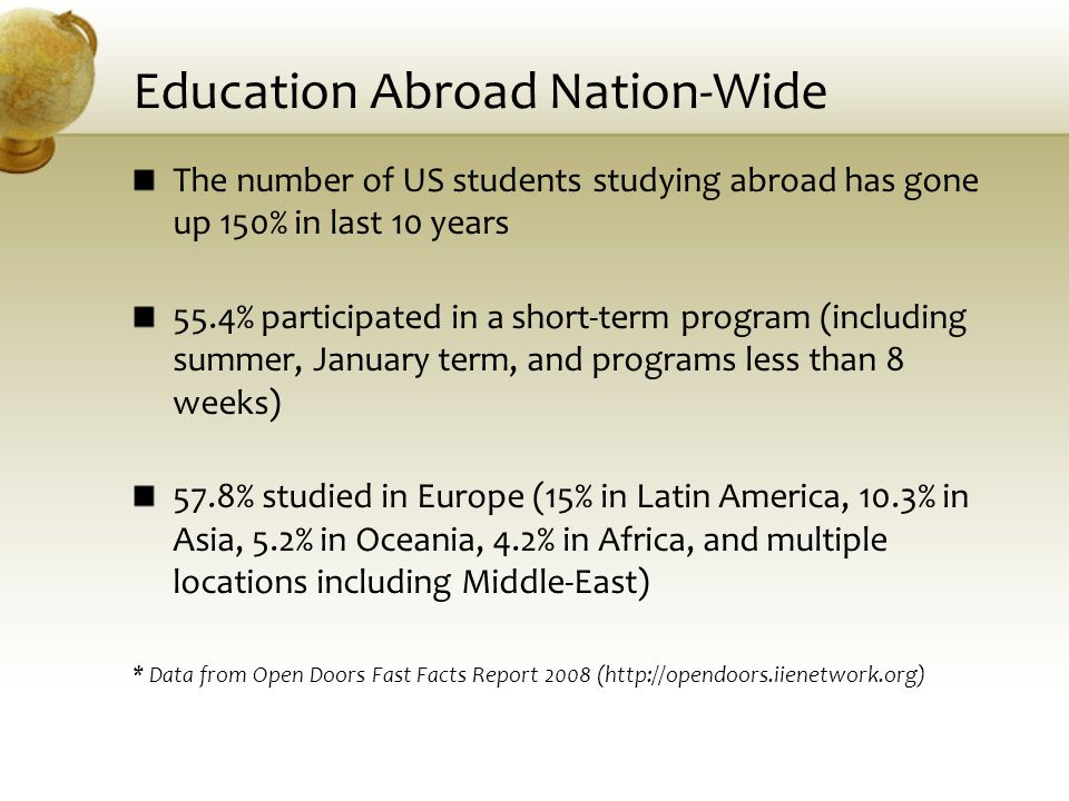 Education Abroad Nation-Wide The number of US students studying abroad has gone up 150% in last 10 years 55.4% participated in a short-term program (i