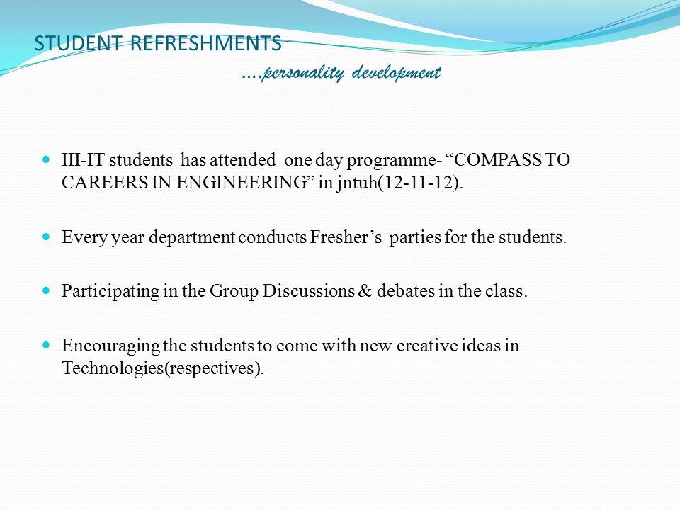 STUDENT REFRESHMENTS ….