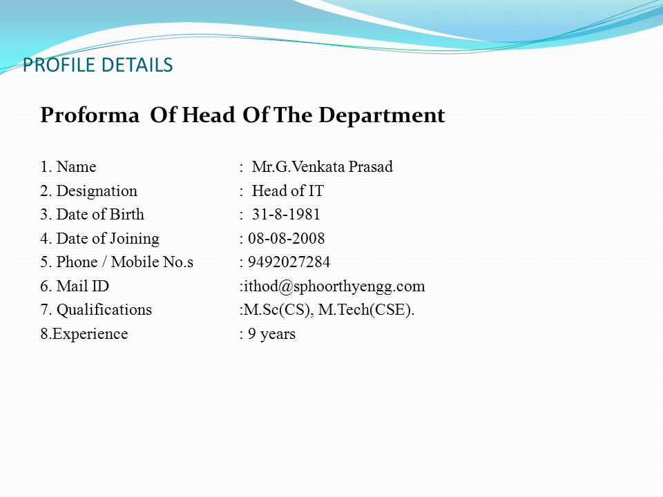 PROFILE DETAILS Proforma Of Head Of The Department 1.