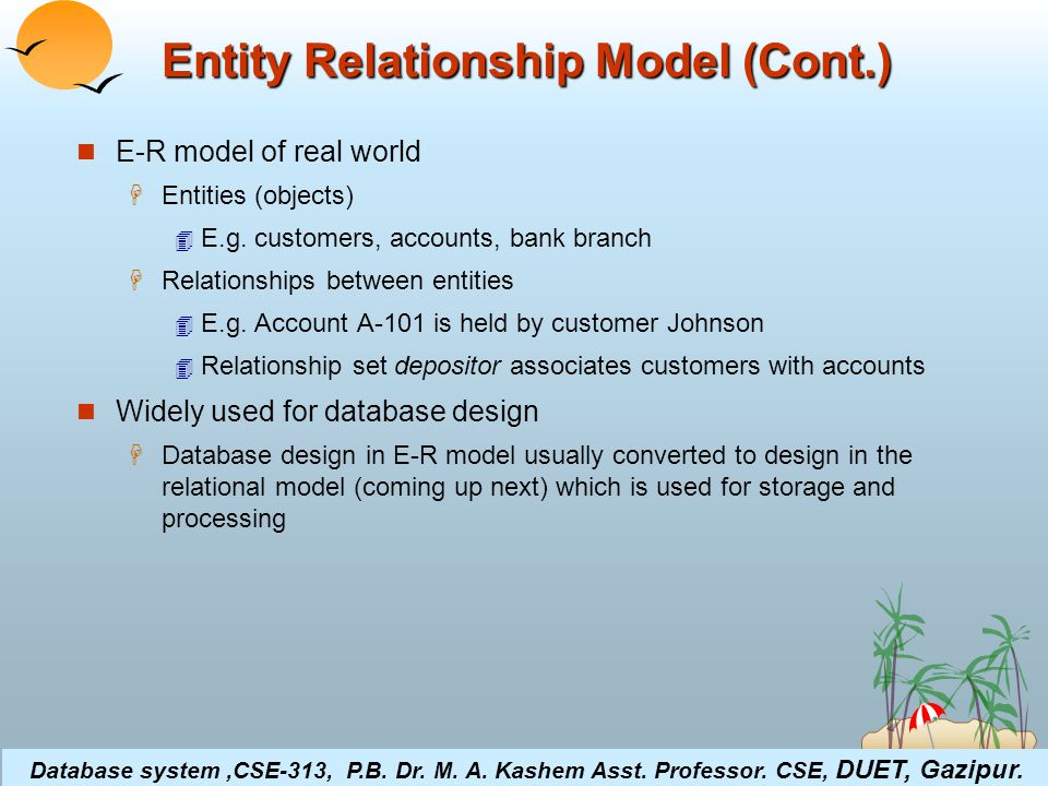 ©Silberschatz, Korth and Sudarshan4.15Database System Concepts Entity Relationship Model (Cont.) E-R model of real world  Entities (objects)  E.g.
