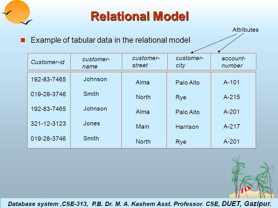 ©Silberschatz, Korth and Sudarshan4.16Database System Concepts Relational Model Example of tabular data in the relational model customer- name Customer-id customer- street customer- city account- number Johnson Smith Johnson Jones Smith 192-83-7465 019-28-3746 192-83-7465 321-12-3123 019-28-3746 Alma North Alma Main North Palo Alto Rye Palo Alto Harrison Rye A-101 A-215 A-201 A-217 A-201 Attributes Database system,CSE-313, P.B.
