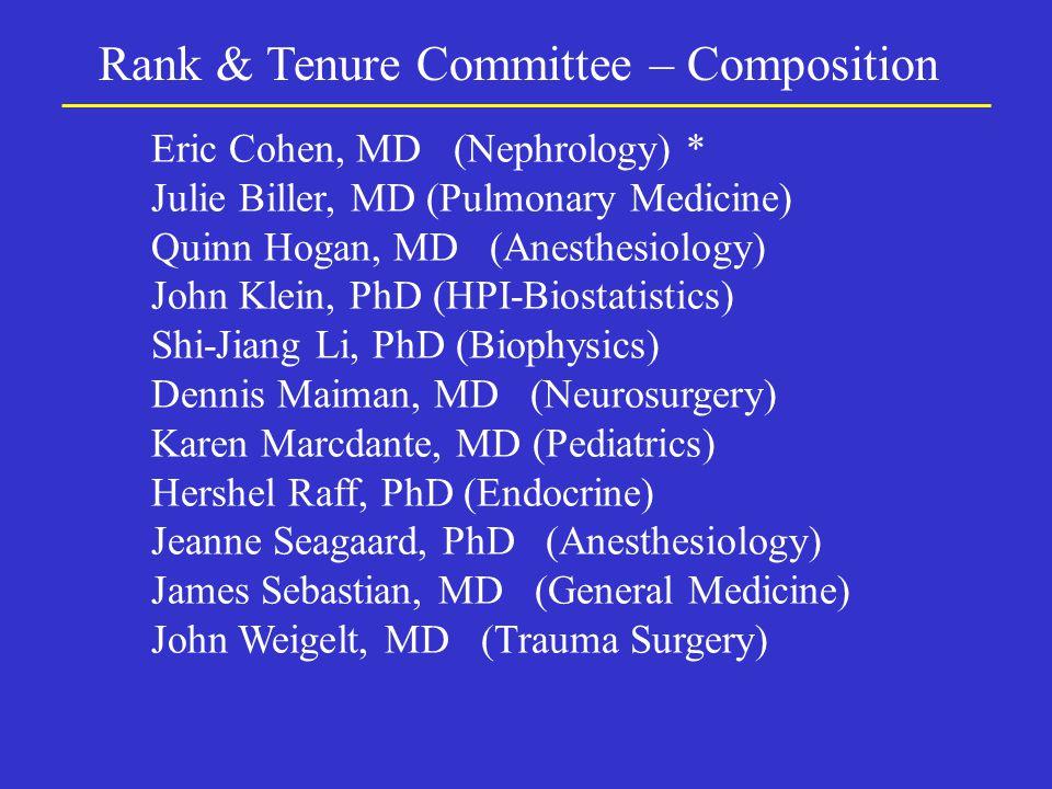 Rank & Tenure Committee – Composition Eric Cohen, MD (Nephrology) * Julie Biller, MD (Pulmonary Medicine) Quinn Hogan, MD (Anesthesiology) John Klein, PhD (HPI-Biostatistics) Shi-Jiang Li, PhD (Biophysics) Dennis Maiman, MD (Neurosurgery) Karen Marcdante, MD (Pediatrics) Hershel Raff, PhD (Endocrine) Jeanne Seagaard, PhD (Anesthesiology) James Sebastian, MD (General Medicine) John Weigelt, MD (Trauma Surgery)