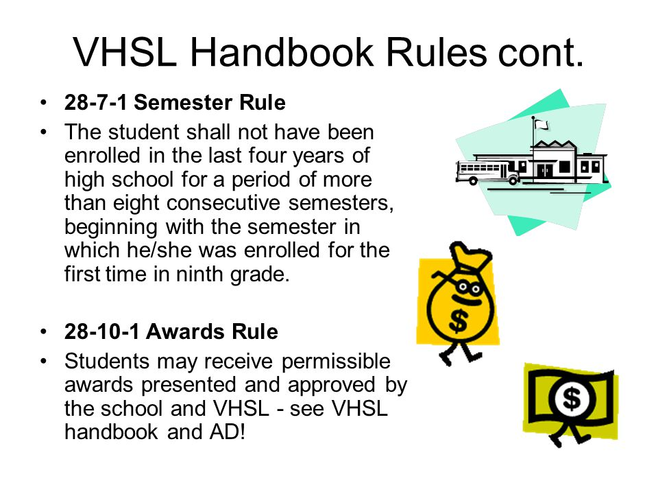 VHSL Handbook Rules cont. 28-7-1 Semester Rule The student shall not have been enrolled in the last four years of high school for a period of more tha