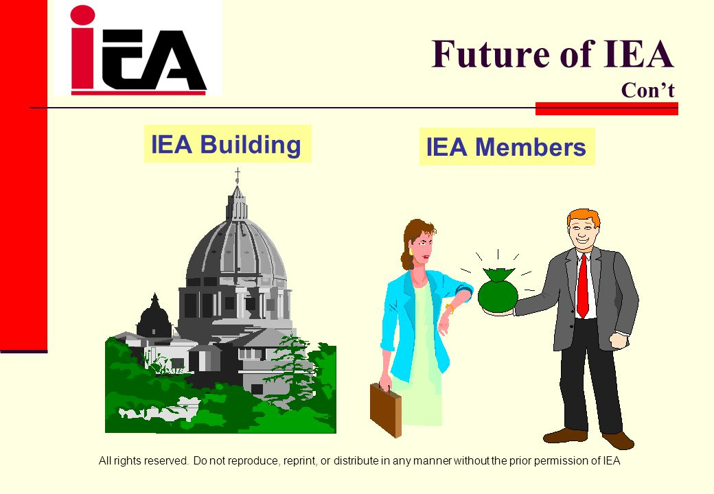 All rights reserved. Do not reproduce, reprint, or distribute in any manner without the prior permission of IEA Future of IEA Con't IEA Building IEA M