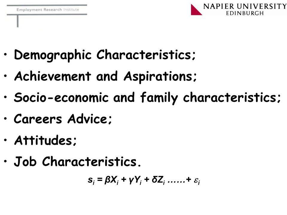 Demographic Characteristics; Achievement and Aspirations; Socio-economic and family characteristics; Careers Advice; Attitudes; Job Characteristics.