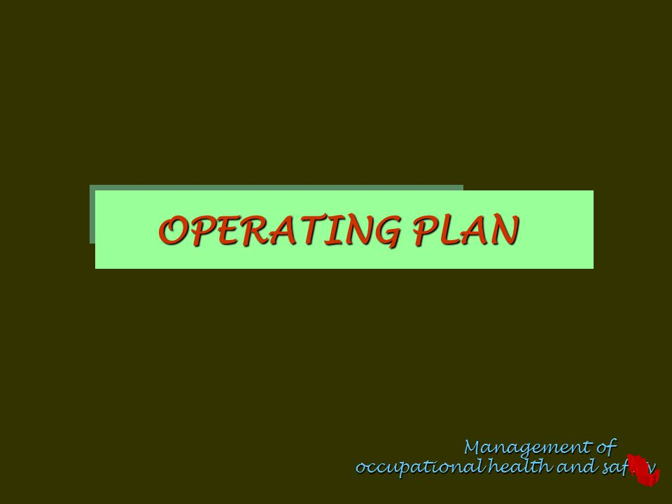 Management of occupational health and safety OPERATING PLAN