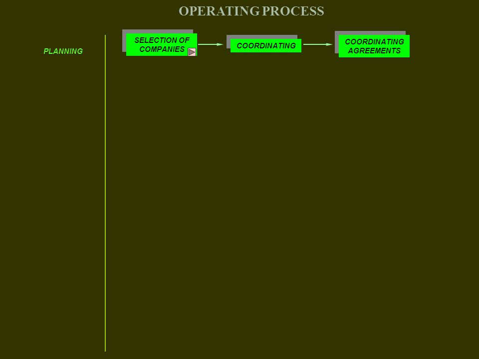 PLANNING SELECTION OF COMPANIES COORDINATING COORDINATING AGREEMENTS OPERATING PROCESS