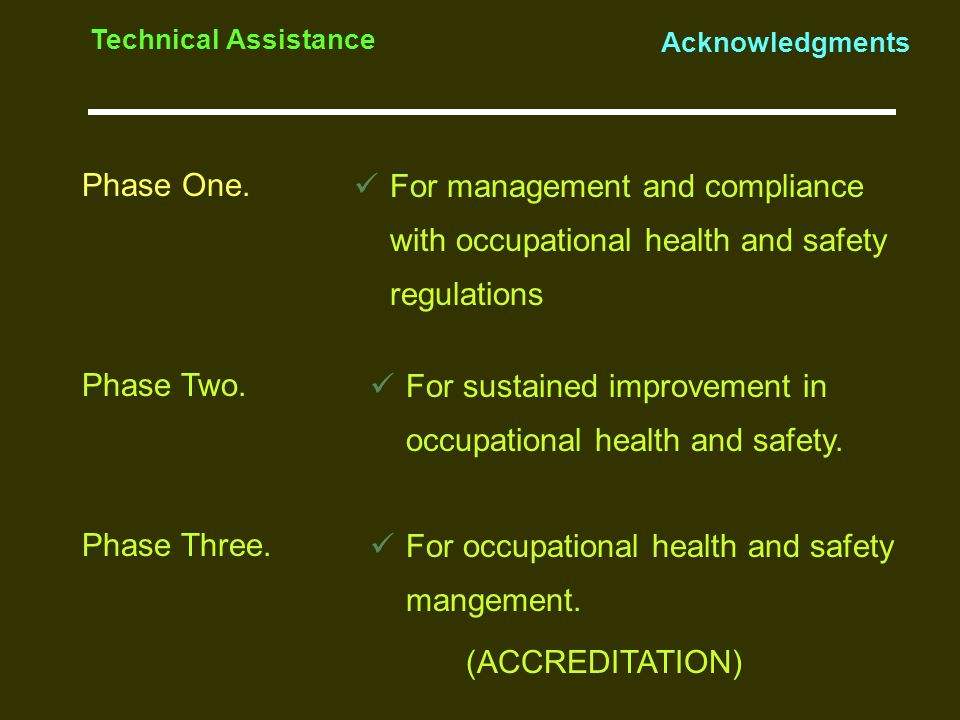 Phase One. Technical Assistance Acknowledgments For management and compliance with occupational health and safety regulations Phase Two. Phase Three.