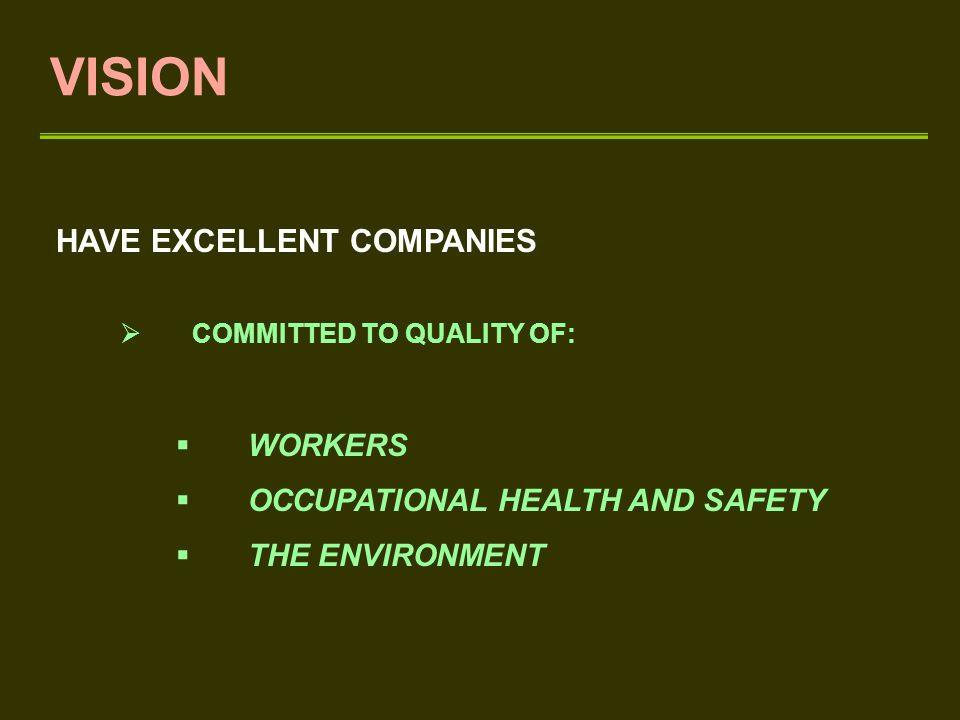 VISION HAVE EXCELLENT COMPANIES  COMMITTED TO QUALITY OF:  WORKERS  OCCUPATIONAL HEALTH AND SAFETY  THE ENVIRONMENT