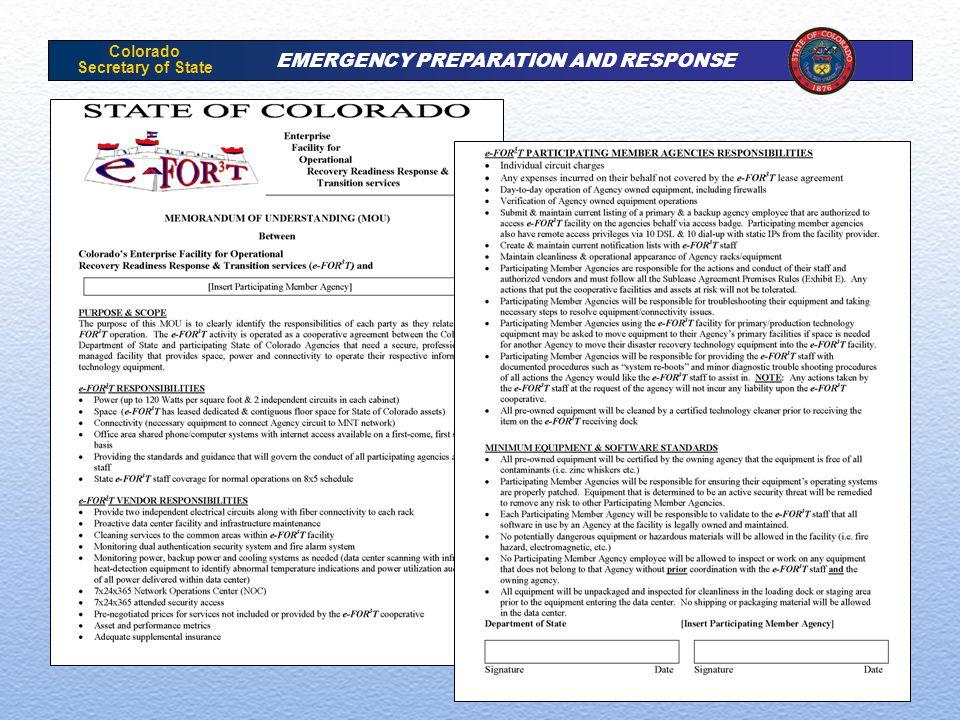 Colorado Secretary of State EMERGENCY PREPARATION AND RESPONSE