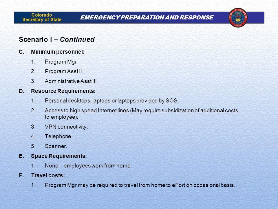 Colorado Secretary of State EMERGENCY PREPARATION AND RESPONSE Scenario I – Continued C.Minimum personnel: 1.Program Mgr 2.Program Asst II 3.Administr