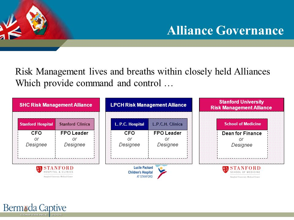 Alliance Governance CFO or Designee Stanford Hospital FPO Leader or Designee Stanford Clinics SHC Risk Management Alliance CFO or Designee L.