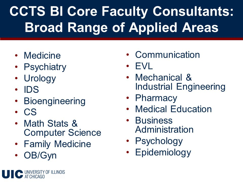 CCTS BI Core Faculty Consultants: Broad Range of Applied Areas Medicine Psychiatry Urology IDS Bioengineering CS Math Stats & Computer Science Family Medicine OB/Gyn Communication EVL Mechanical & Industrial Engineering Pharmacy Medical Education Business Administration Psychology Epidemiology