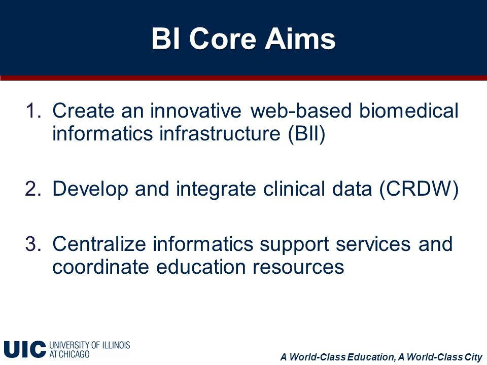 BI Core Aims 1.Create an innovative web-based biomedical informatics infrastructure (BII) 2.Develop and integrate clinical data (CRDW) 3.Centralize informatics support services and coordinate education resources A World-Class Education, A World-Class City