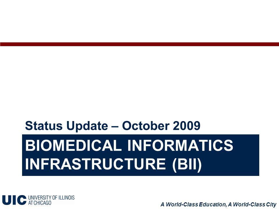 BIOMEDICAL INFORMATICS INFRASTRUCTURE (BII) Status Update – October 2009 A World-Class Education, A World-Class City