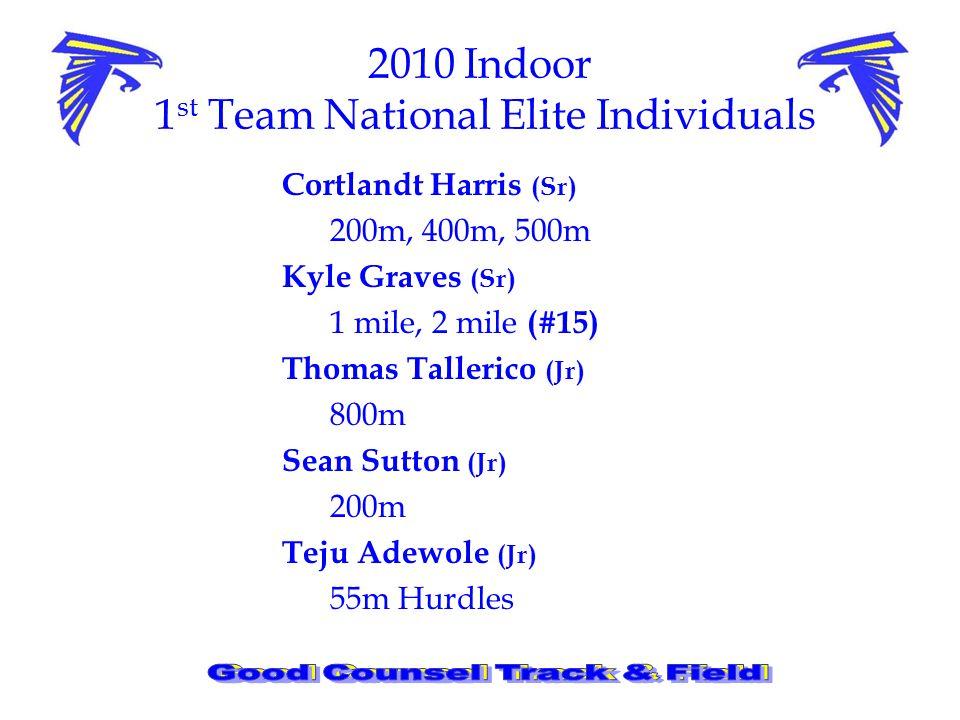 2010 Indoor 1 st Team National Elite Individuals Cortlandt Harris (Sr) 200m, 400m, 500m Kyle Graves (Sr) 1 mile, 2 mile (#15) Thomas Tallerico (Jr) 800m Sean Sutton (Jr) 200m Teju Adewole (Jr) 55m Hurdles
