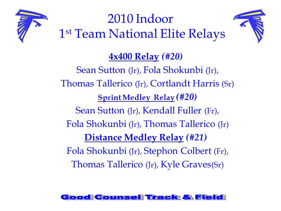 2010 Indoor 1 st Team National Elite Relays 4x400 Relay (#20) Sean Sutton (Jr), Fola Shokunbi (Jr), Thomas Tallerico (Jr), Cortlandt Harris (Sr) Sprint Medley Relay (#20) Sean Sutton (Jr), Kendall Fuller (Fr), Fola Shokunbi (Jr), Thomas Tallerico (Jr) Distance Medley Relay (#21) Fola Shokunbi (Jr), Stephon Colbert (Fr), Thomas Tallerico (Jr), Kyle Graves (Sr)