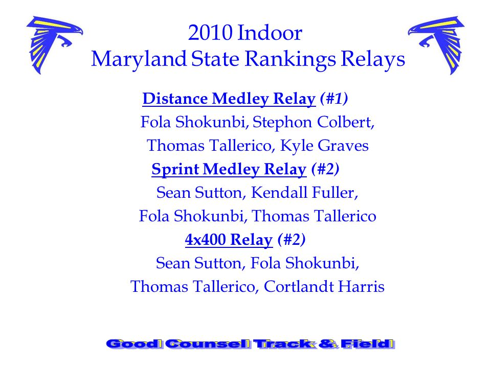 2010 Indoor Maryland State Rankings Relays Distance Medley Relay (#1) Fola Shokunbi, Stephon Colbert, Thomas Tallerico, Kyle Graves Sprint Medley Relay (#2) Sean Sutton, Kendall Fuller, Fola Shokunbi, Thomas Tallerico 4x400 Relay (#2) Sean Sutton, Fola Shokunbi, Thomas Tallerico, Cortlandt Harris