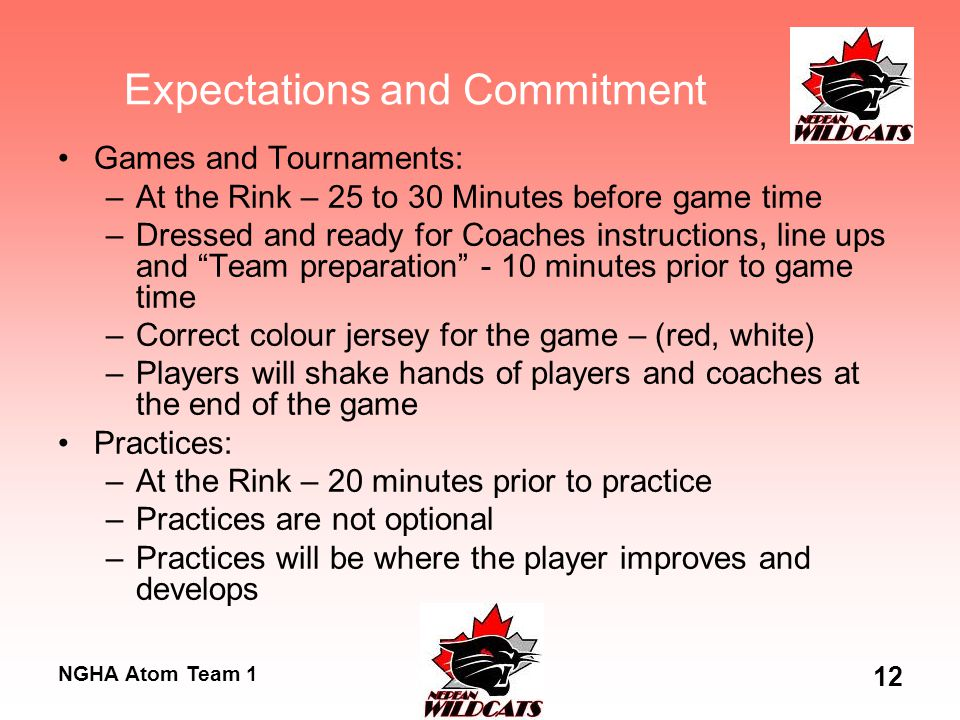 NGHA Atom Team 1 12 Expectations and Commitment Games and Tournaments: –At the Rink – 25 to 30 Minutes before game time –Dressed and ready for Coaches