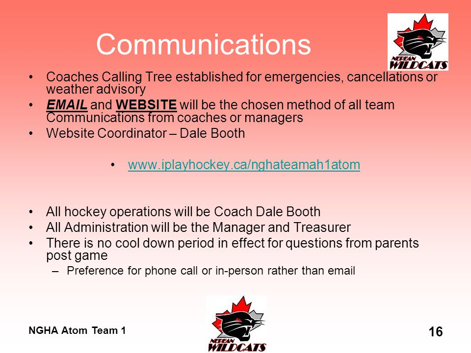 NGHA Atom Team 1 16 Communications Coaches Calling Tree established for emergencies, cancellations or weather advisory EMAIL and WEBSITE will be the c