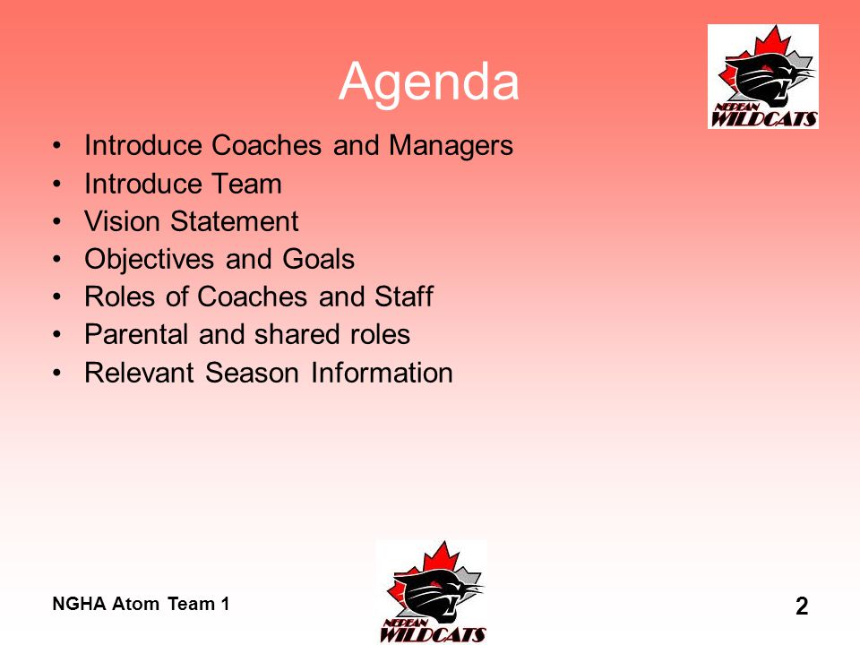 NGHA Atom Team 1 2 Agenda Introduce Coaches and Managers Introduce Team Vision Statement Objectives and Goals Roles of Coaches and Staff Parental and