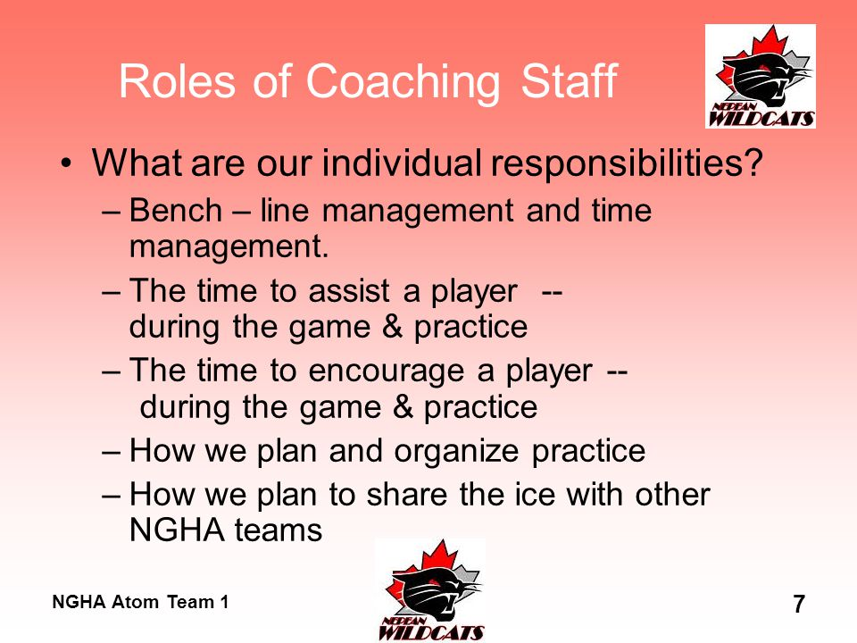 NGHA Atom Team 1 7 Roles of Coaching Staff What are our individual responsibilities? –Bench – line management and time management. –The time to assist