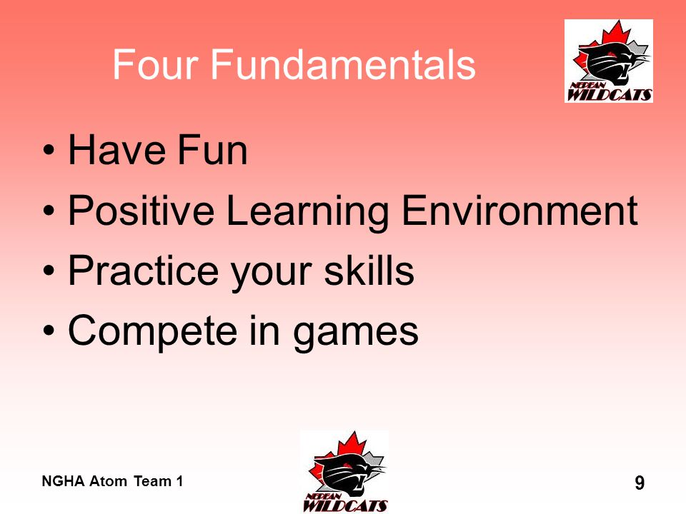 NGHA Atom Team 1 9 Four Fundamentals Have Fun Positive Learning Environment Practice your skills Compete in games