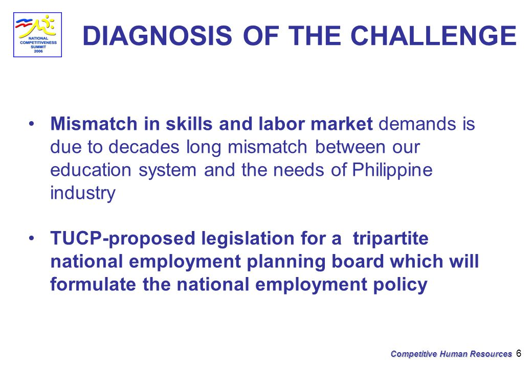 Competitive Human Resources 6 DIAGNOSIS OF THE CHALLENGE Mismatch in skills and labor market demands is due to decades long mismatch between our education system and the needs of Philippine industry TUCP-proposed legislation for a tripartite national employment planning board which will formulate the national employment policy