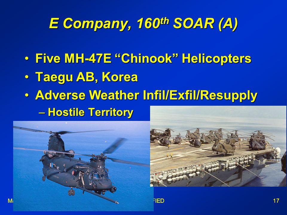 Maj WongUNCLASSIFIED17 E Company, 160 th SOAR (A) Five MH-47E Chinook HelicoptersFive MH-47E Chinook Helicopters Taegu AB, KoreaTaegu AB, Korea Adverse Weather Infil/Exfil/ResupplyAdverse Weather Infil/Exfil/Resupply –Hostile Territory