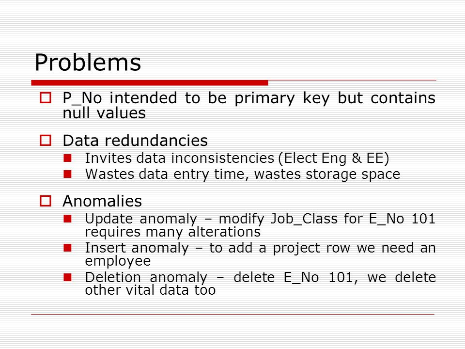 Problems  P_No intended to be primary key but contains null values  Data redundancies Invites data inconsistencies (Elect Eng & EE) Wastes data entr