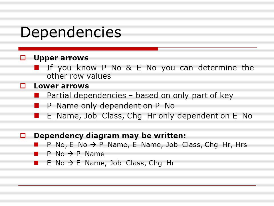 Dependencies  Upper arrows If you know P_No & E_No you can determine the other row values  Lower arrows Partial dependencies – based on only part of