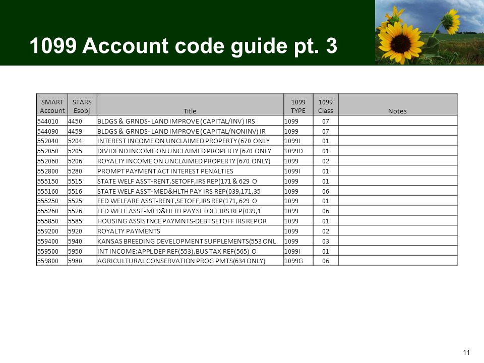 1099 Account code guide pt.