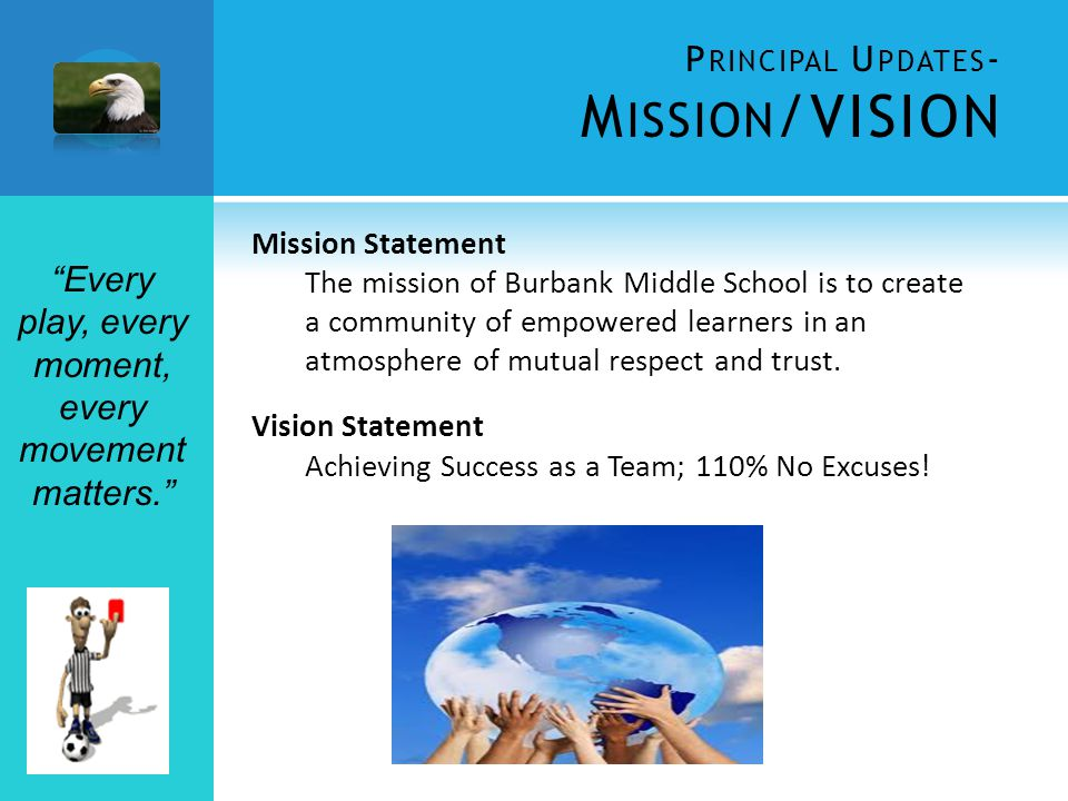 P RINCIPAL U PDATES - M ISSION /VISION Mission Statement The mission of Burbank Middle School is to create a community of empowered learners in an atmosphere of mutual respect and trust.