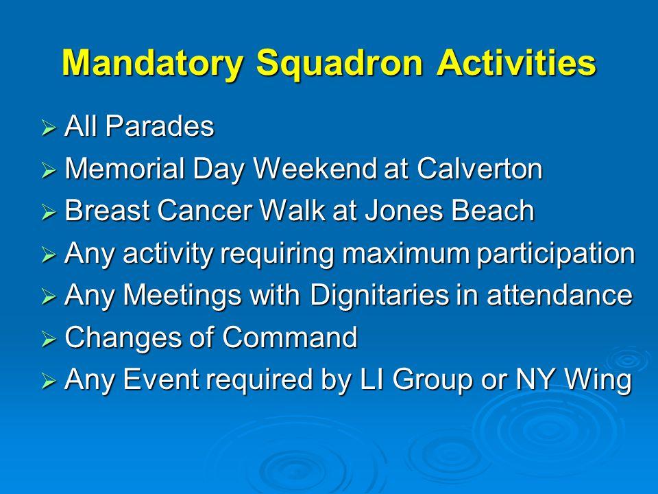 Mandatory Squadron Activities  All Parades  Memorial Day Weekend at Calverton  Breast Cancer Walk at Jones Beach  Any activity requiring maximum p